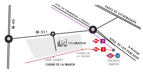 Karta för att komma till Telemadrid